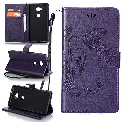 ZeWoo Funda de PU Piel - LD104 / Púrpura - para Huawei Honor 5X (5,5 pulgadas) carcasas y fundas
