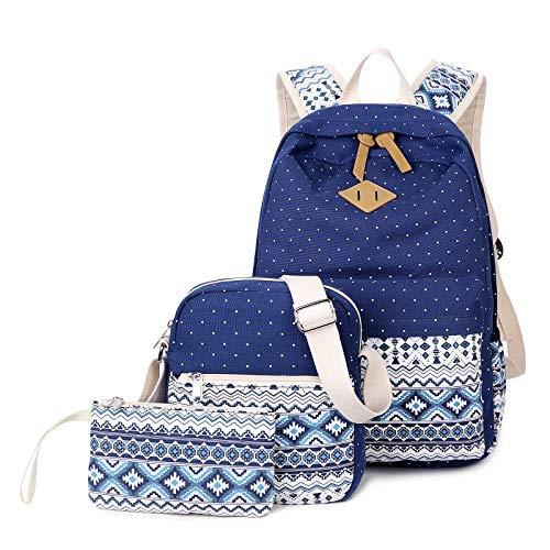 Women Ladies Daypack Canvas Backpack School Bag Outdoor Travel Laptop Backpacks Set with Shoulder Bags -