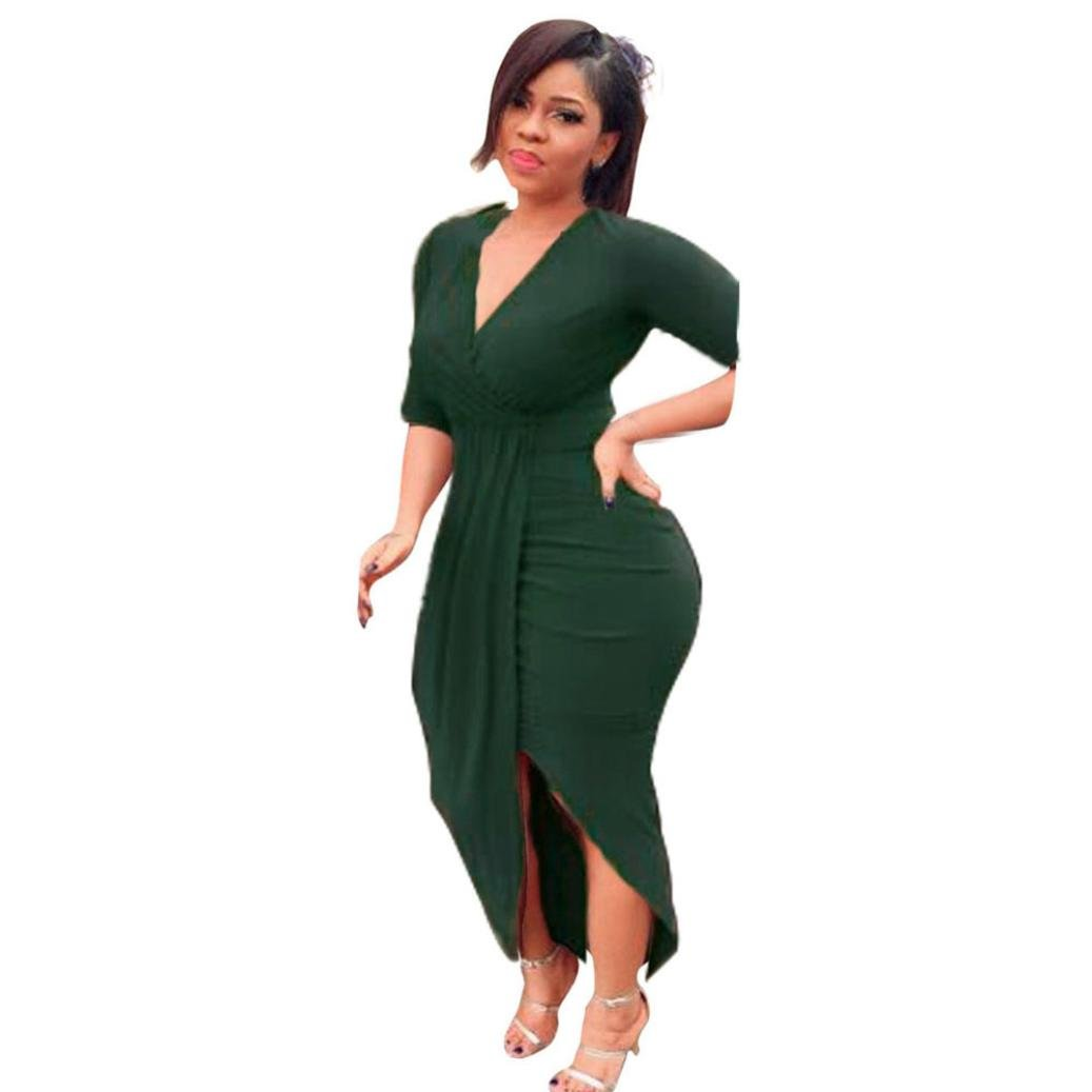 Women Dress Daoroka Women's Sexy Deep V-Neck Bandage Bodycon Casual Long Sleeve Pleated Party Evening Slim Sheath Knee Length Skirt Ladies New Fashion Spring Autumn Novelty Dress (2XL, Green) by Daoroka Women Dress