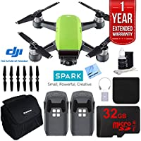 DJI SPARK Intelligent Quadcopter Drone Essentials Bundle (Meadow Green) With DJI Spare Battery, Cleaning Kit, 32Gb High Speed Card, Custom Case And One Year Warranty Extension