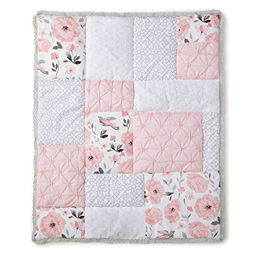 Levtex Baby Elise Grey and Pink Floral 5 Piece Crib Bedding Set, Quilt, 100% Cotton Crib Fitted Sheet, 3-tiered Dust Ruffle, Diaper Stacker and Large Wall Decals