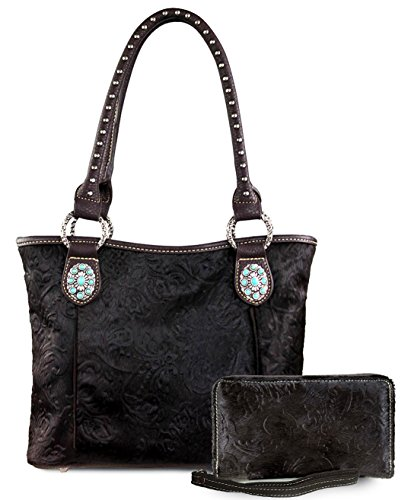 new-trinity-ranch-hair-on-leather-tote-w-tq-accents-wallet-coffee