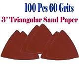 Pack 100 Sandpaper 60 Grits 3-1/8'' Triangular Sand Paper w/ Velcro Oscillating Multi Tool Saw Blades for Fein Multimaster Bosch Multi-x Craftsman Nextec Dremel Multi-max Ridgid Dremel Chicago 3'' Rockwell Huperlock Worx Mm20 6300 Milwaukee M12