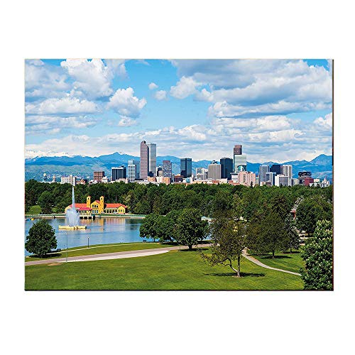 SATVSHOP Decorations painting-24Lx20W-Urban City Park at Denver Colorado Downtown Tree and Architecture Sunny Panorama Sky Blue Fern Green.Self-Adhesive backplane/Detachable Modern Decorative Art.