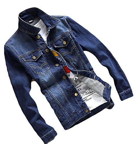 1 Coat Mens Denim Generic Slim Jacket breasted Pocket Fit Single wzTTOxB60