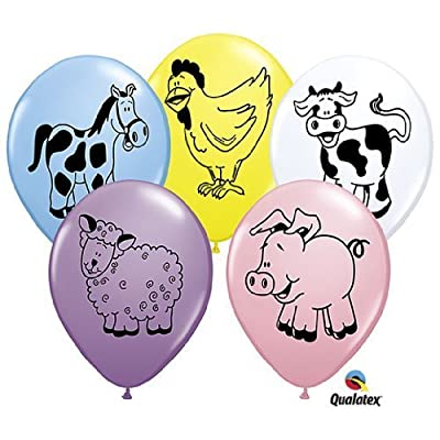 Farm Animal Barnyard Pig Cow Sheep Horse Birthday Party 11' Balloon Latex (25): Toys & Games