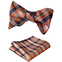 HISDERN Men's Plaid Check Bowtie Jacquard Woven Self Tie Bow tie and Pocket Square Set