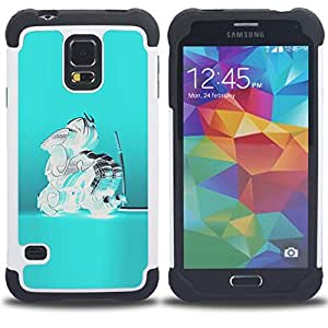 BullDog Case - FOR/Samsung Galaxy S5 I9600 G9009 G9008V / - / BLUE CRYSTAL GLASS TEAL ABSTRACT SAMURAI /- H??brido Heavy Duty caja del tel??fono protector din??mico - silicona suave