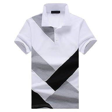 Camisa Polo Casual para Hombre Remiendo Tops Algodón Verano ...