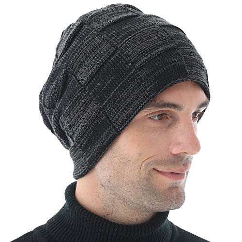Nigua Winter Beanie Hats for Men - Mens Warm Stretch Knit Hats with Thick Fleece Lined, Chunky Slouchy Winter Hats for Guys Black