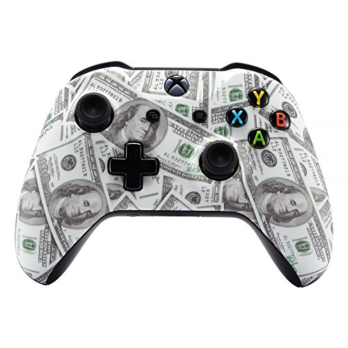 eXtremeRate 100 Cash Money Dollar Pattern Faceplate Cover, Soft Touch Front Housing Shell Case, Comfortable Soft Grip Replacement Kit for Microsoft Xbox One X & One S ()