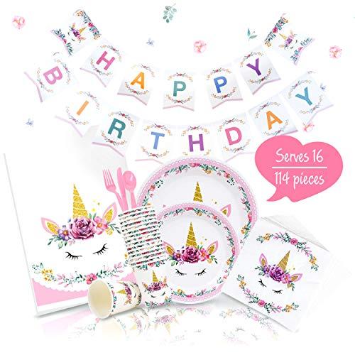 Joyful Toys Unicorn Birthday Party Supplies Set and Decorations | Serves -