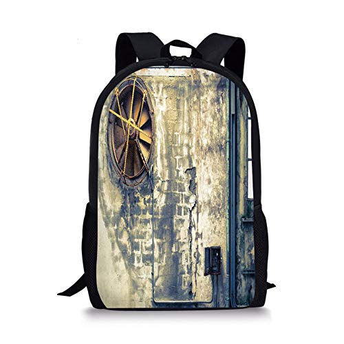 (School Bags Industrial Decor,Damaged Wrecked Wall Image Destruction Vandalism Broken Deserted Workplace,Multicolor for Boys&Girls Mens Sport)