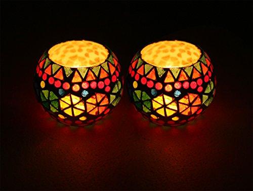 Tealight Holders on SALE - 2pcs Mosaic Glass Tealight Votive