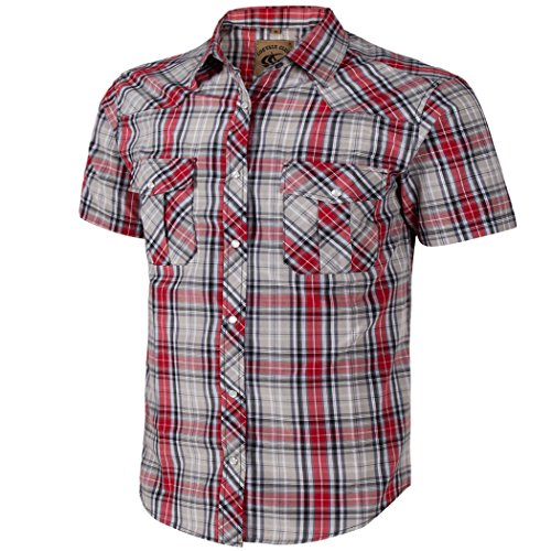 hort Sleeve Casual Western Plaid Snap Buttons Shirt (L, 22#gray,red) (Short Sleeve Pearl Snap)