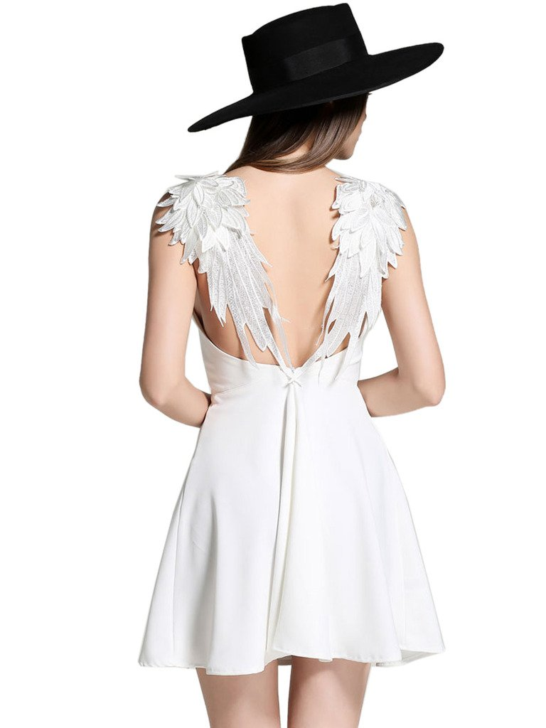 Choies Women's White Plunge V-Neck Angel Wings Open Back Skater Cami Mini Dress XL