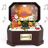 Santa Music Box - Christmas Music Decoration - Santa and the North Pole Scene - LED and Fiber Optic Lights Music Box - Merry Christmas
