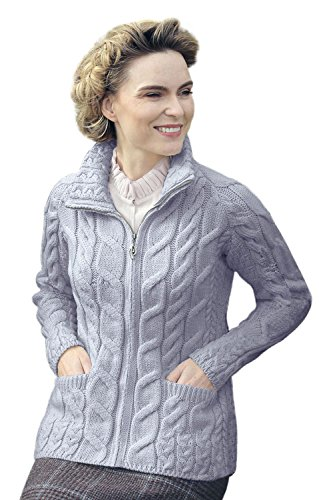 Irish Shaped Zipper Merino Wool Cardigan Sweater with Mock Turtleneck (Ocean Grey, Medium)