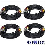 HQ-Cam 4 x 100 ft Premade BNC Camera Video power siamese cable