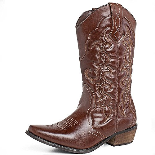(SheSole Women's Western Cowboy Cowgirl Boot, Brown, 8 B(M) US)