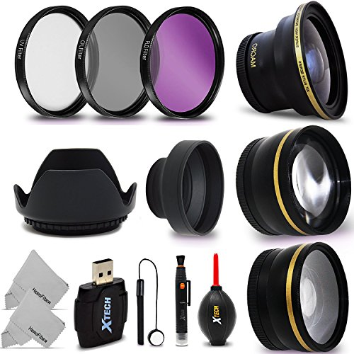58mm Lens + Accessory Kit for CANON EOS Rebel T6i T6S T5i T4i T3i T2i T1i XTi XT SL1 XSi, EOS M, EOS M2, EOS 80D, 700D 650D 600D 550D 70D 60D 6D 5D 7D, 7D Mark II DSLR Cameras - Includes: 58MM Super High Definition FishEye Lens, 58MM High Definition Wide  by Xtech