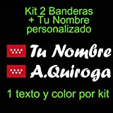 Vinilin - Pegatina Vinilo Bandera Madrid + tu Nombre - Bici, Casco, Pala De Padel, Monopatin, Coche, etc. Kit de Dos Vinilos (Blanco)