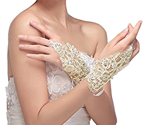 Fashionclubs Bridal Fingerless Lace Embroidered Satin Rhinestone Wedding Gloves (Beige)