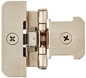 Amerock BPR8701G10 Double Demountable Hinge with 1/4in(6mm) Overlay - Satin Nickel  - 2 Pack