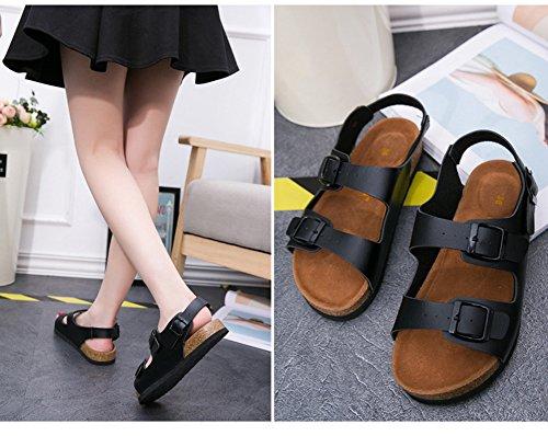 Liège de Confort Noir Réglables Boucles Deux Unisexe Sandales Chaussures avec Adulte Plage OnHqw6Ex