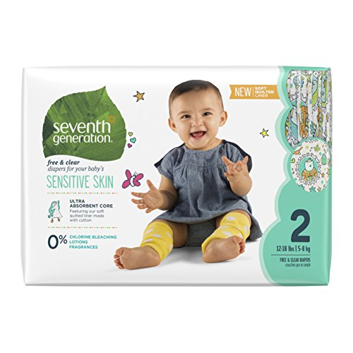 Seventh Generation Free & Clear Unbleached Diapers - Size 2 - 36 ct