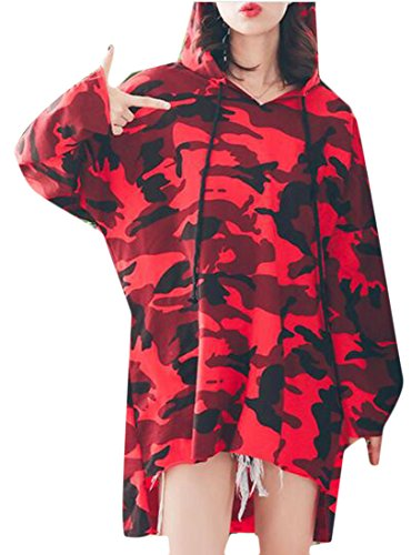 Casuali Felpe Donne shirt T Cromoncent Oversize Abito Lunga Felpe Manica Rosso Camouflage Erq58zfq