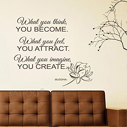 BATTOO What You Think You Become   Buddha Quote   Vinyl Wall Decal Words Buddha  Wall
