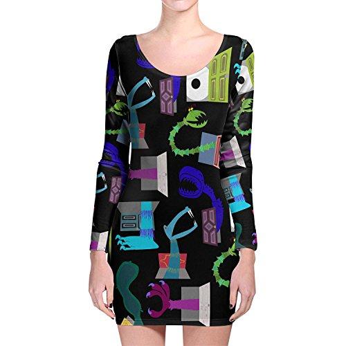 Monsters in Closets Longsleeve Bodycon Dress Kleid XS-3XL