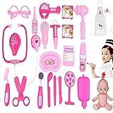 Doctor Nurse Pink Medical Kit Playset For Kids - 23 PCS Pretend Play Tools Toy Set