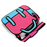 Sunnyhill Women 3D Jump Style 2D Drawing From Cartoon Paper Comic Animation Satchel Bag (Pink)