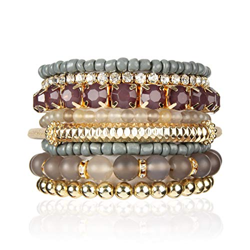 - RIAH FASHION Multi Color Stretch Beaded Stackable Bracelets - Layering Bead Strand Statement Bangles (Natural Stone - Gray Agate, 8)