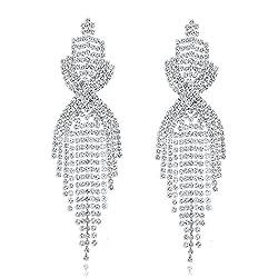 Silver Plated Long Tassels Dangle Earring With Rhinestone