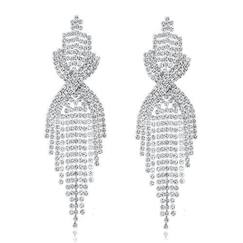 Long Way Bridal Wedding Jewelry Beautiful Fashion Dazzle Sparkling Rhinestone Long Tassels Dangle Earrings