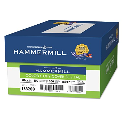 Hammermill 133200 Copier Digital Cover Stock, 80 lbs, 18 x 12, Photo White, 1000 Sheets