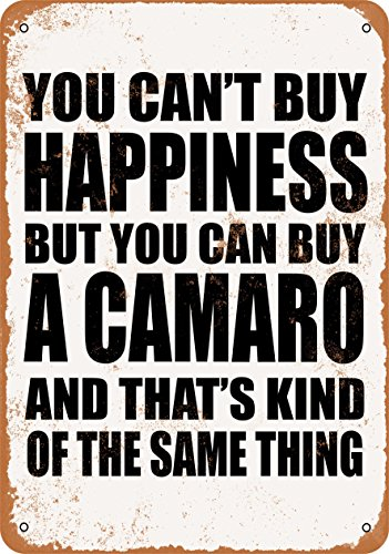Wall-Color 9 x 12 Metal Sign - You Can't Buy Happiness But You Can Buy a Camaro - Vintage Look