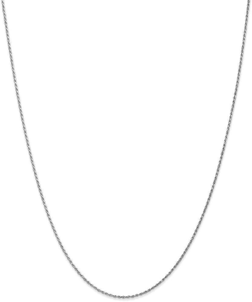 Mia Diamonds 14k WG 1.15mm Machine-made Rope Chain Necklace