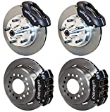 """NEW WILWOOD FULL DISC BRAKE KIT WITH SPINDLES, 11"""" ROTORS, BLACK 4 PISTON CALIPERS, LINES, CABLES, 62-72 CDP B, E-BODY CARS, CHRYSLER DODGE PLYMOUTH CHALLENGER CHARGER CORONET BARRACUDA FURY GTX 330"""
