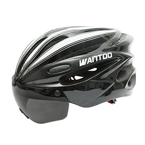 Wantdo Bike Helmet with Removable Magnetic Goggles Visor,Bicycle Helmet with Detachable Liner and Adjustable Strap for Adult Men and Women Mountain Road Cycling Helmet White Black For Sale