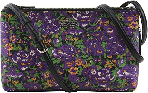 Lyla Silver Crossbody F57922 Canvas Print Multi Meadow Style Coated Women's Rose Coach Violet aT46H6