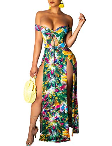 - Women's Side Split Dress Off Shoulder Floral Short Sleeve Club Maxi Dresses