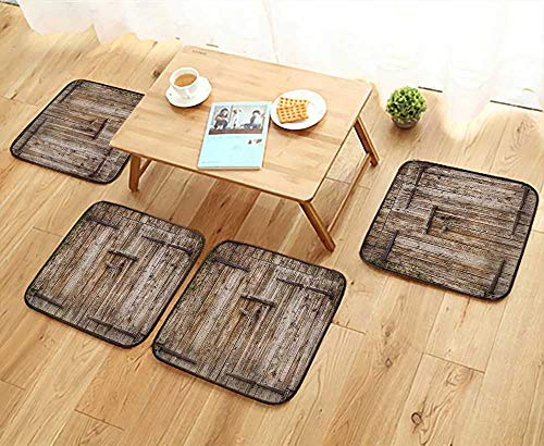 Modular Cottage Office (Printsonne Simple Modern Chair Cushions Oak Garage Door with Steel Hinges Vintage Typical Cottage Doorway Reusable Water wash W27.5 x L27.5/4PCS Set)