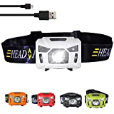 headlights for kids - Three trees Sensor USB Rechargeable Headlamp Flashlight Switching Red Strobe Headlight For Camping Hiking Running Kids ,Including Super Bright 200 Lumens Waterproof (white)