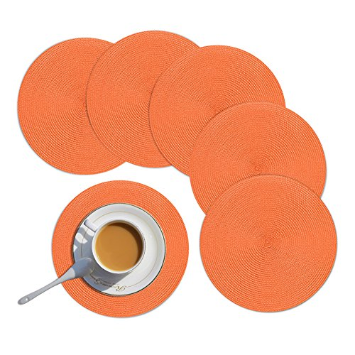 Homcomoda Round Placemats Set of 6 Heat Resistant Round Braided Woven Place Mats for Dining/Kitchen Table Orange Table Mats 15″