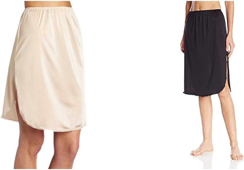 Vanity Fair Womens Everyday Layers Single Slit Half Slip Damask Neutral//Midnight Black S 18 Length