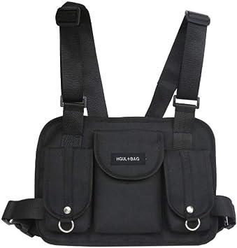 COUNTN Pecho Rig Riñonera Riñonera Hip Hop Streetwear Funcional Tactical Chest Bag Bolso de Hombro Cruzado Radio Arnés Pecho Front Pack: Amazon.es: Deportes y aire libre